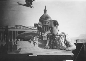 Ray Haurryhausen on the set of Earth Vs the Flying Saucers ray harryhausen Ray Harryhausen: The Legendary Life of an Animation Master Ray Harryhausen Animating Earth Vs the Flying Saucers 300x214